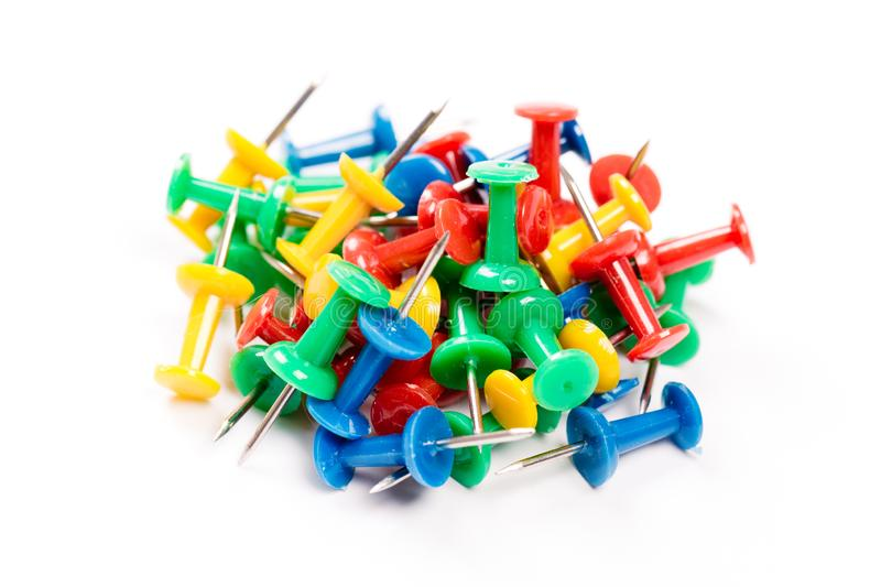 Set of colorful push pins isolated on white background. Group of push-pins, isolated on white royalty free stock photos