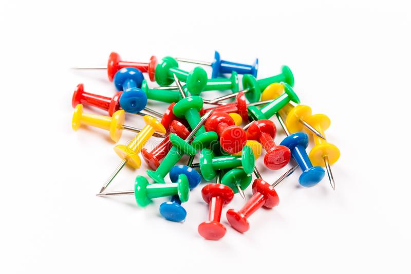 Set of colorful push pins  on white background. Group of push-pins,  on white stock photos