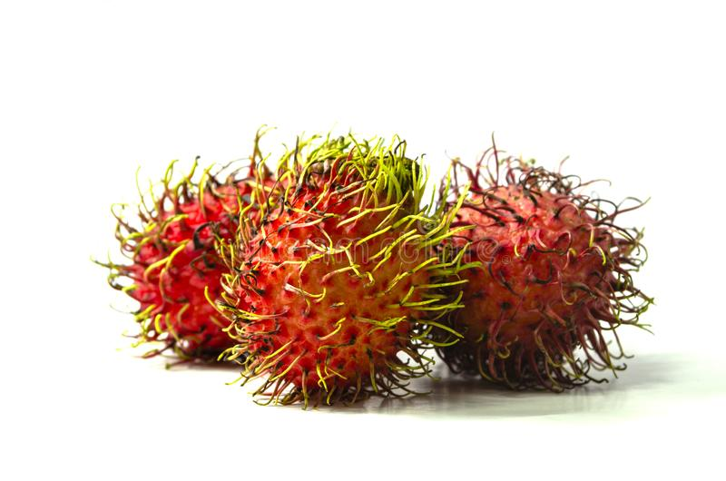 Group rambutan sweet red fruit isolated on white background stock images