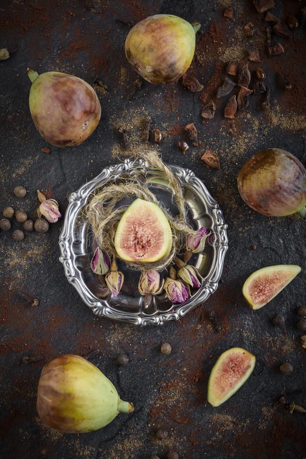 Raw figs served stock image