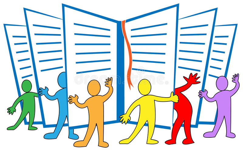 Group reading vector illustration