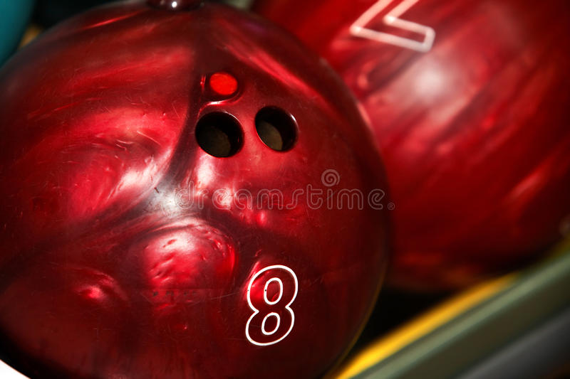 Group of red bowling ball. stock images