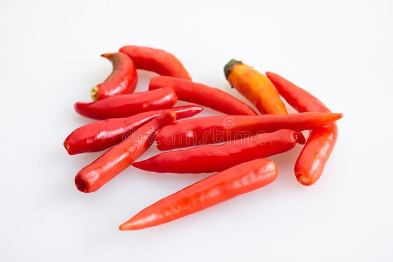 Group of red chilli peppers without stem on white background - top view, closed up. Group of red chilli peppers without stem on white background - top view royalty free stock image