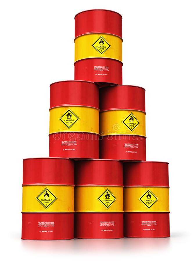 Group of red oil drums isolated on white background vector illustration