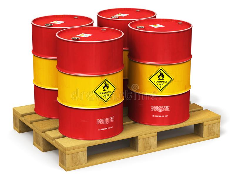 Group of red oil drums on shipping pallet isolated on white vector illustration