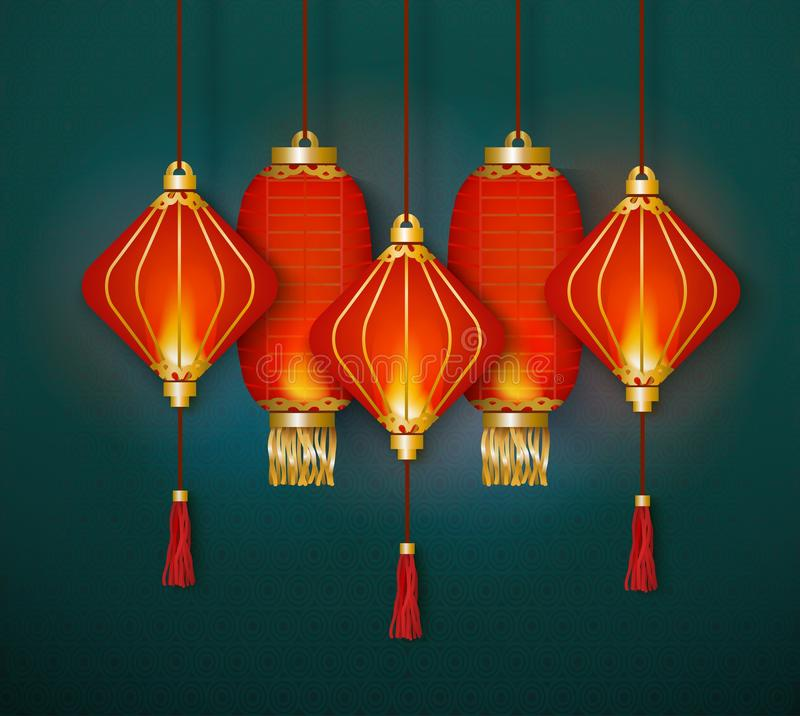 A group of red paper Chinese lanterns hangs and glows together on a turquoise background. A group of red paper Chinese lanterns hangs and glows together on a stock illustration