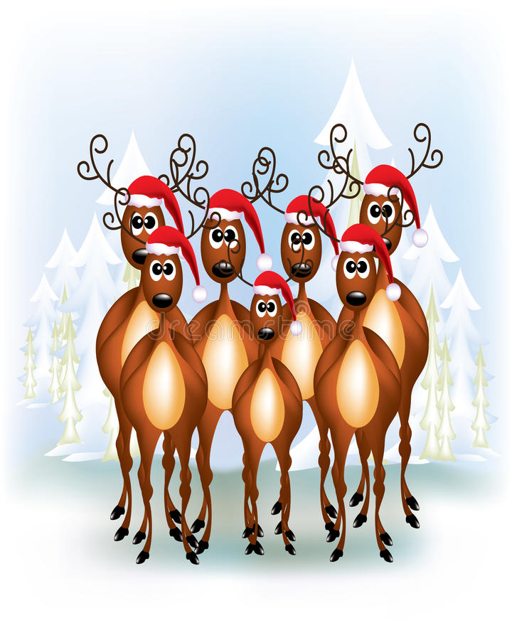 Group Of Reindeers Royalty Free Stock Photos