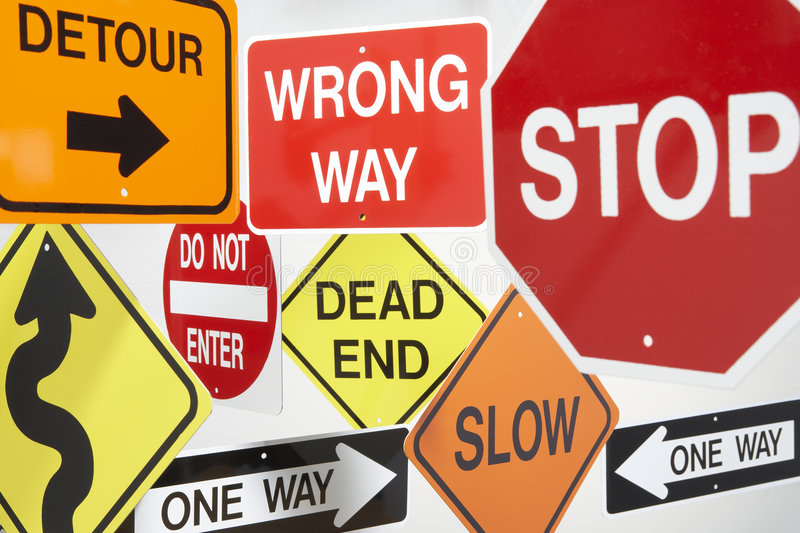Group Of Road Signs royalty free stock image