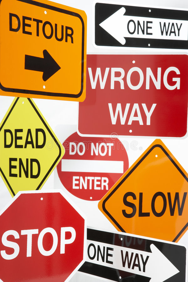 Group Of Road Signs. Group Of Confusing Road Signs stock images