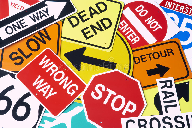 Group Of Road Signs. Group Of Confusing Road Signs royalty free stock image