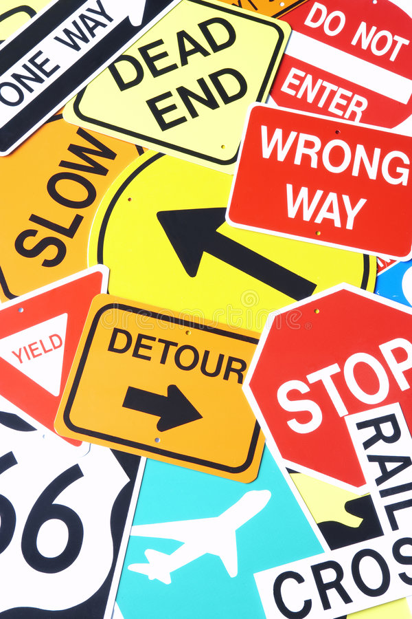 Group Of Road Signs. Group Of Confusing Road Signs royalty free stock photo