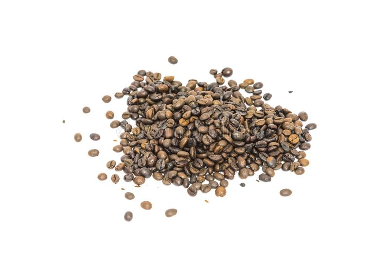 Group of roasted Vietnamese robusta coffee beans isolated on white. Pile of roasted Vietnamese robusta coffee beans isolated on white background. Medium roast royalty free stock photos