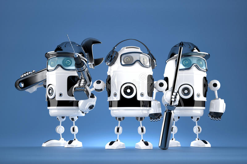 Group of robot mechanics. Technology concept. Contains clipping path.  vector illustration