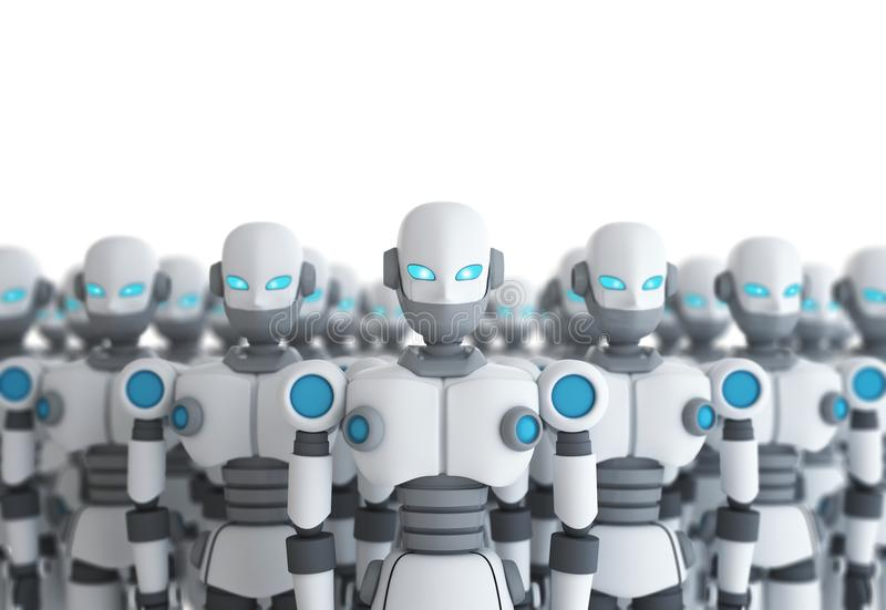 Group of robot on white, artificial intelligence stock illustration