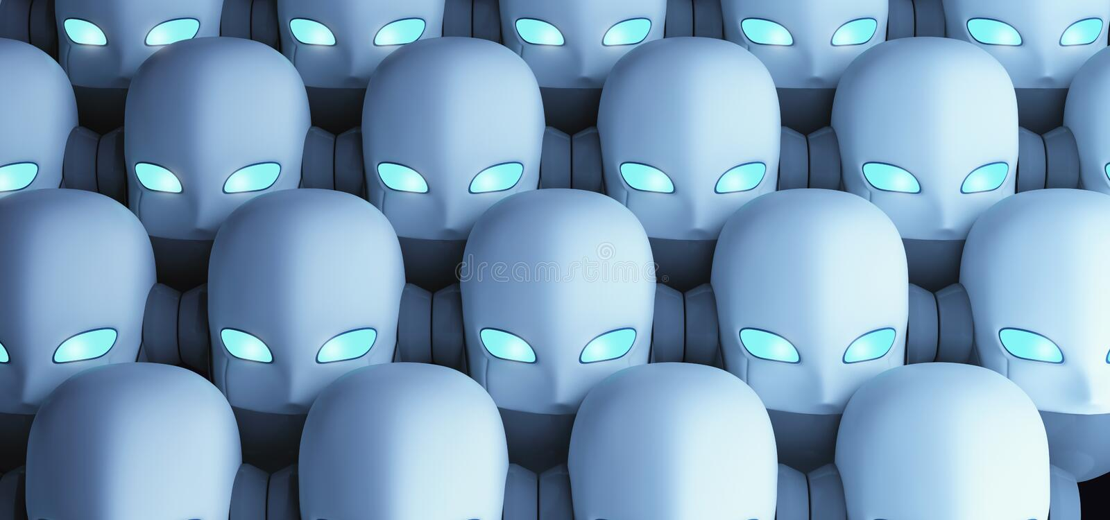Group of robots, artificial intelligence vector illustration
