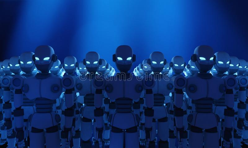 Group of robots on blue background, artificial intelligence royalty free illustration