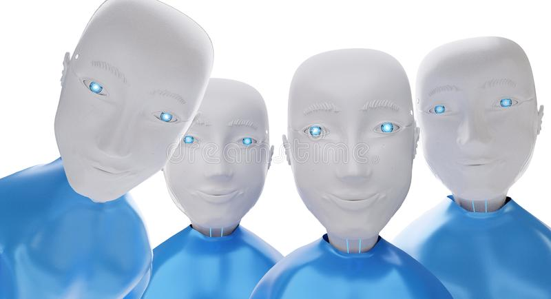 A group of robots looks closely 3d-illustration royalty free illustration
