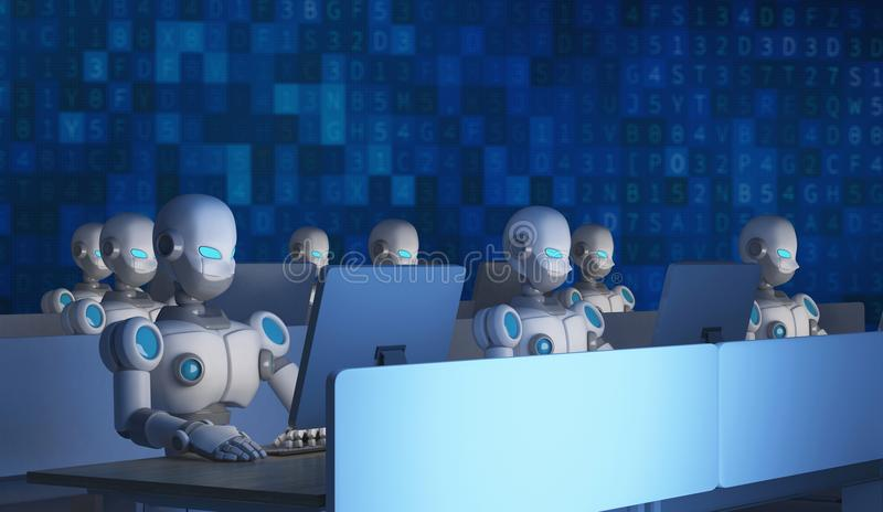 Group of robots using computers with data code. Artificial royalty free illustration