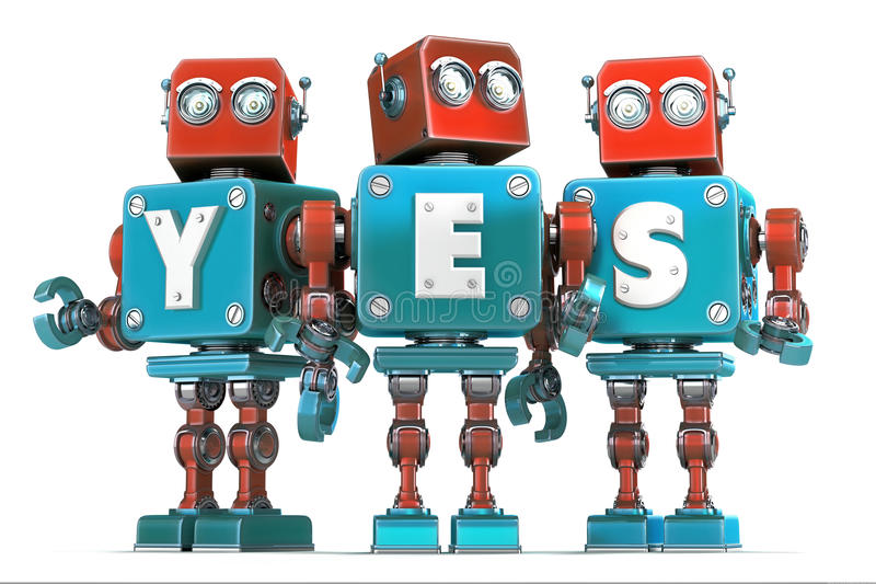 Group of robots with YES sign. Isolated. Contains clipping path royalty free illustration