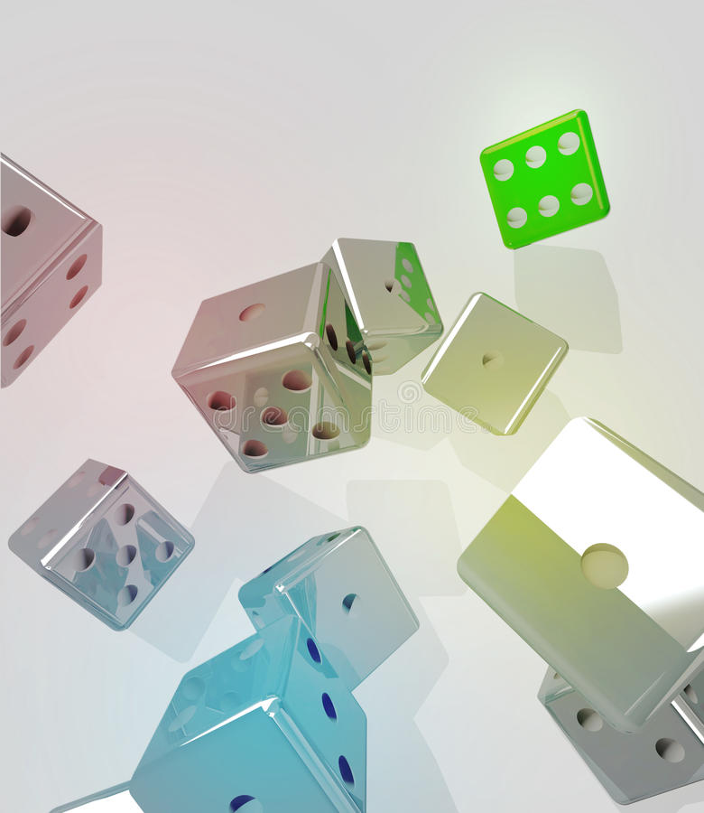 Group of rolling metallic dices royalty free illustration