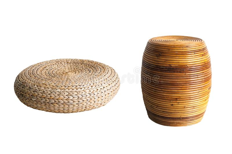 Group of round brown wicker chair in vintage style isolated on white background. stock photos
