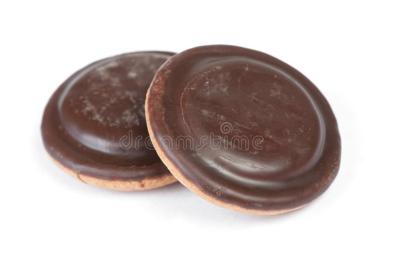 Group of round delicious glazed chocolate chip cookies stock photos