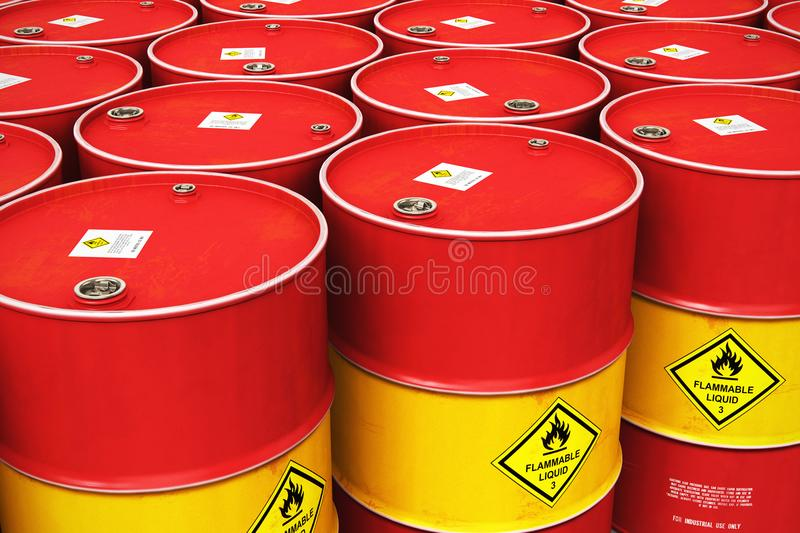 Group of rows of red stacked oil drums in storage warehouse vector illustration