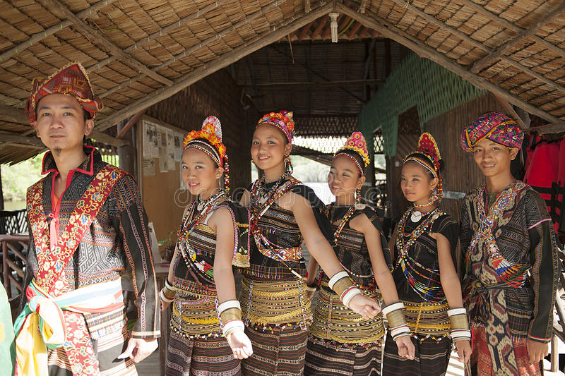 A group from Rungus ethnic. royalty free stock images