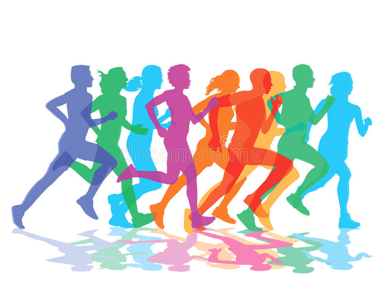 Group of runners stock illustration