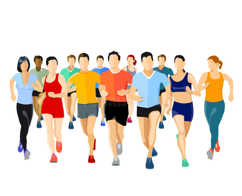 Group of runners royalty free illustration
