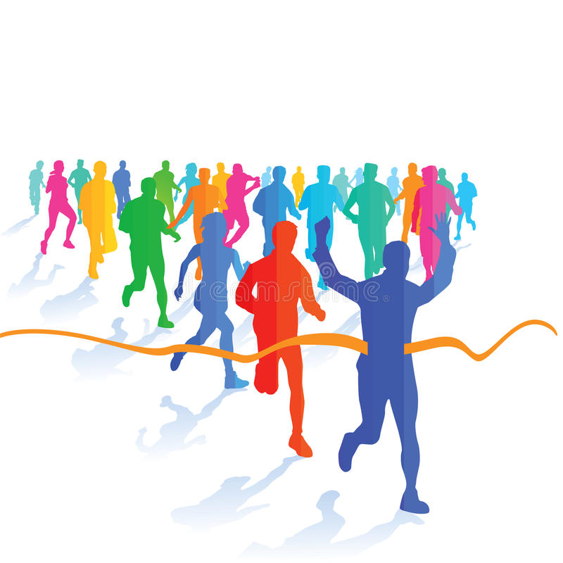 A group of runners royalty free illustration