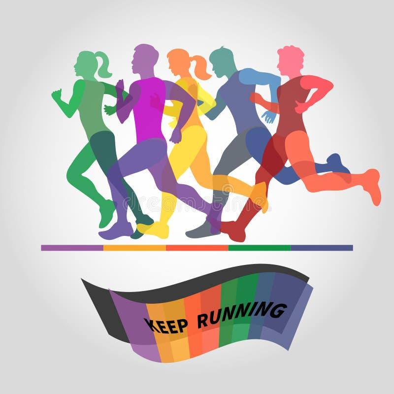 Group of runners. Marathon logo. royalty free illustration