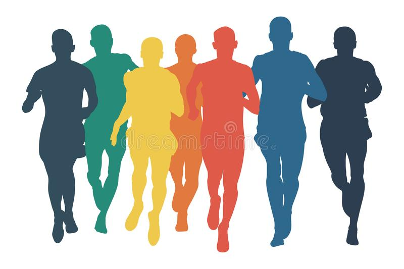Group runners men run colored silhouettes. In flat design style stock illustration