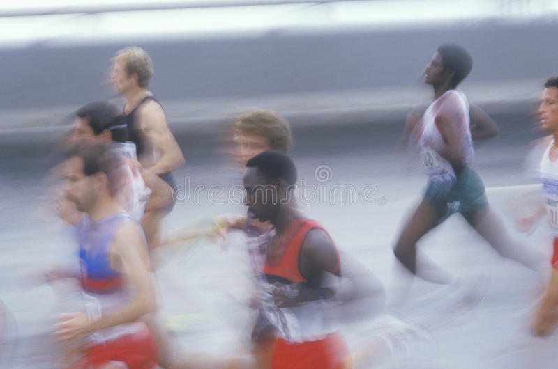 Group of runners in NY City Marathon, Brooklyn, NY royalty free stock photos