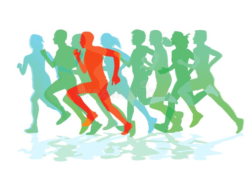 A group of runners while running vector illustration