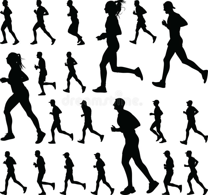 Group of runners silhouette vector royalty free illustration
