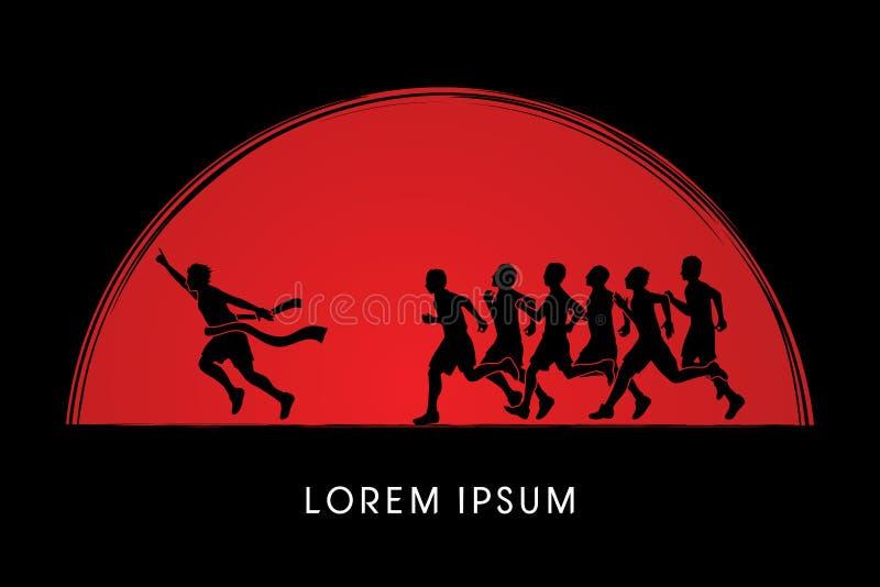 Group or runners, the winner stock illustration