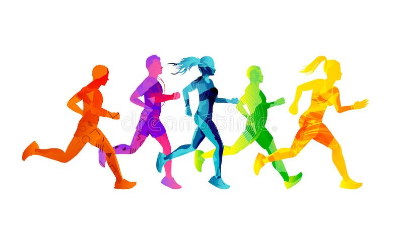 A Group of Running Men And Women stock illustration