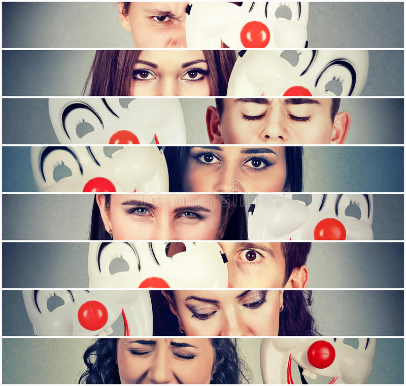 Group of sad angry people hiding real emotions behind clown mask. Group of sad angry stressed people hiding real emotions behind happy clown mask royalty free stock photo