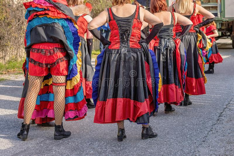 Saloon Dancers Participating In A Parade royalty free stock photos