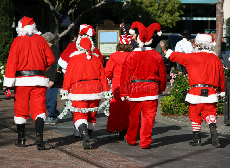 Group of Santa Clauses