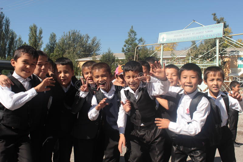 Group of school boys, uzbekistan stock photography