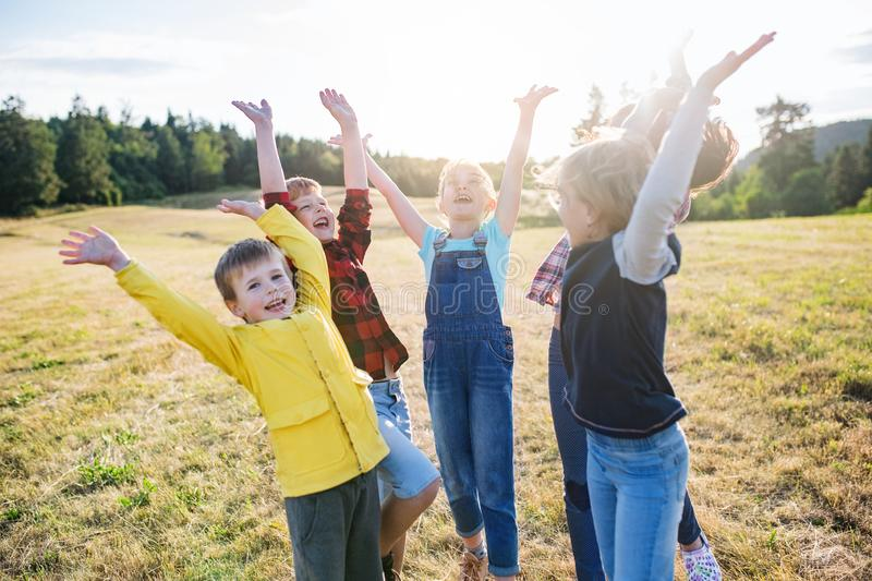 Group of school children standing on field trip in nature, playing. Portrait of group of school children standing on field trip in nature, playing royalty free stock photos