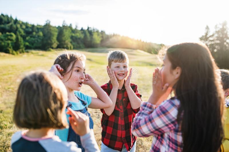 Group of school children standing on field trip in nature, playing. Portrait of group of school children standing on field trip in nature, playing royalty free stock photography