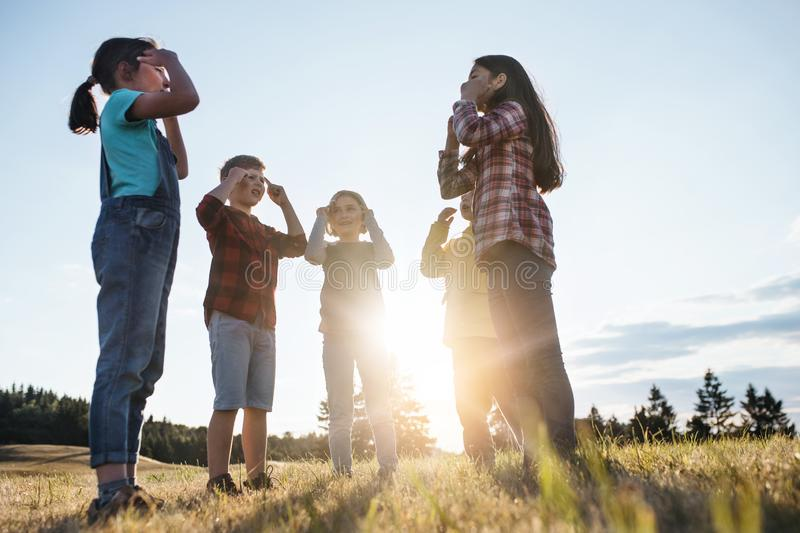 Group of school children standing on field trip in nature at sunset, playing. Portrait of group of school children standing on field trip in nature at sunset royalty free stock image