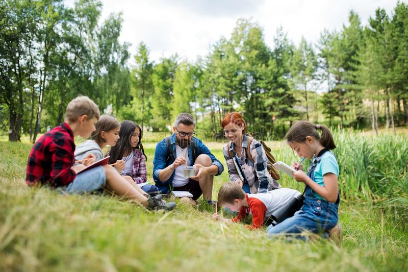 Group of school children with teacher on field trip in nature, learning science. stock image