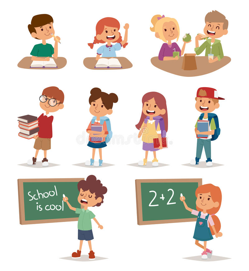 Group school kids going study together, childhood happy primary education character vector. stock illustration