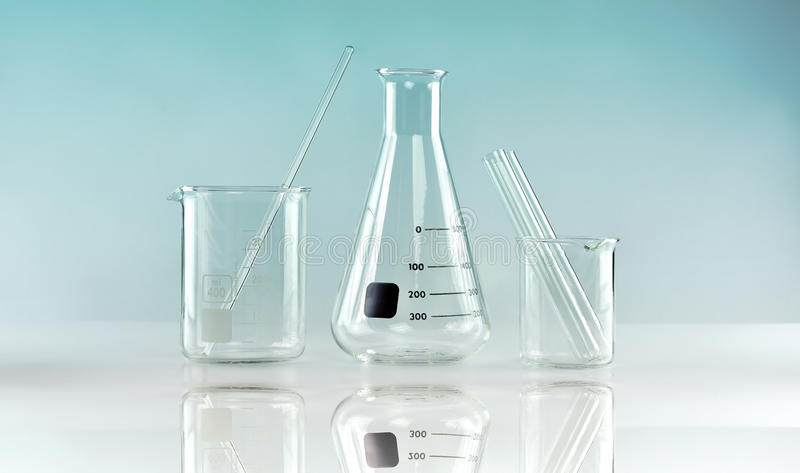 Group of scientific laboratory glassware, Research and development. Concept royalty free stock images
