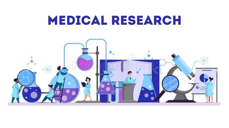 Group of scientist making medical research. Laboratory stock illustration