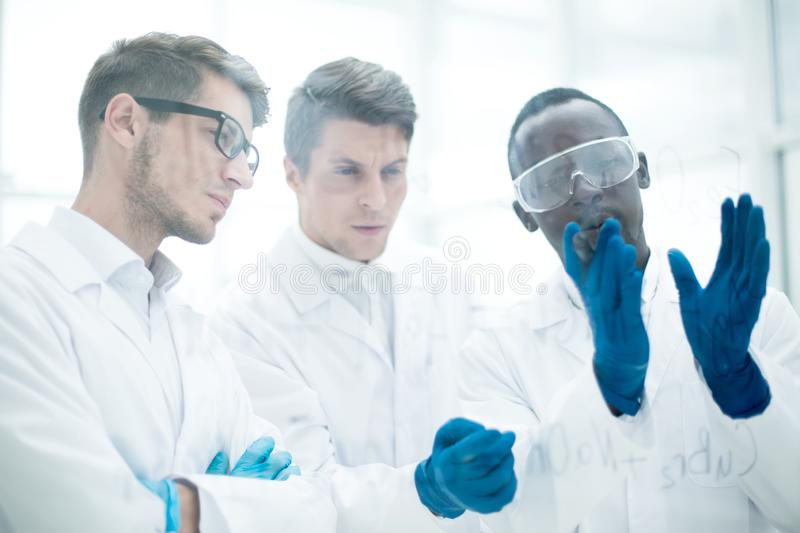 Group of scientists talking standing near a glass Board. royalty free stock images